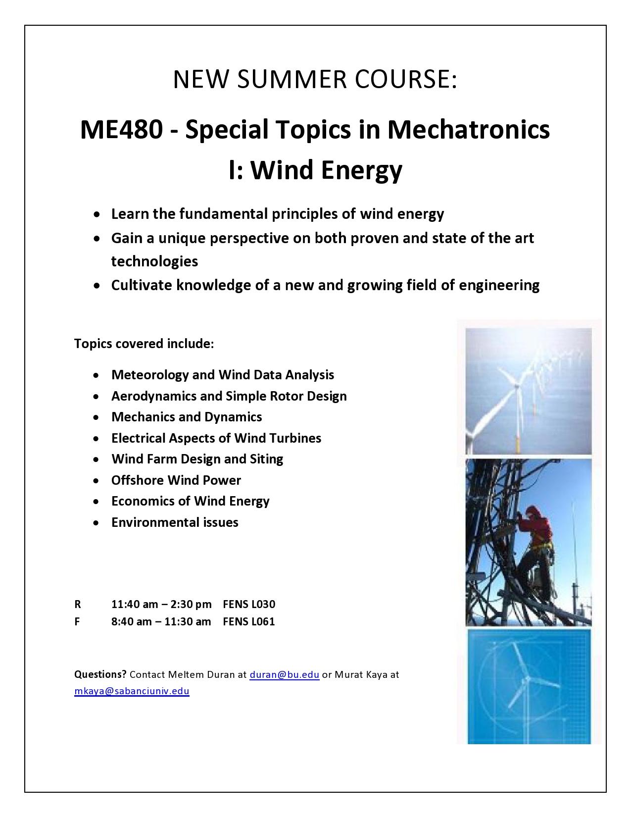 Summer School Course: ME480 - Special Topics in Mechatronics
